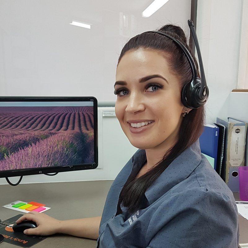 Office Secretary wearing headset